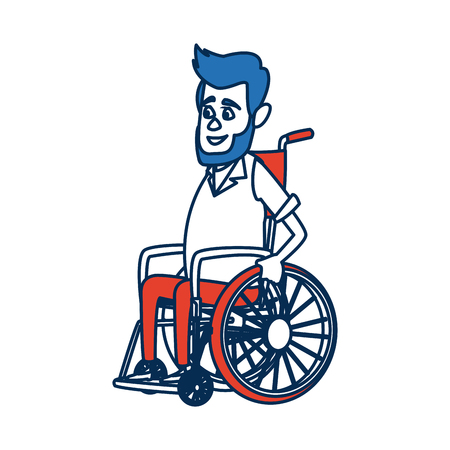 impaired: disabled man isolated on white background. a man in a wheelchair. vector illustration. sad disabled man. Illustration