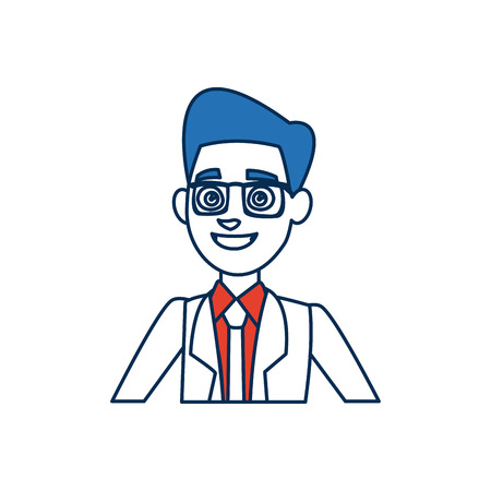portrait cartoon man young wearing suit tie and blue hair vector illustration