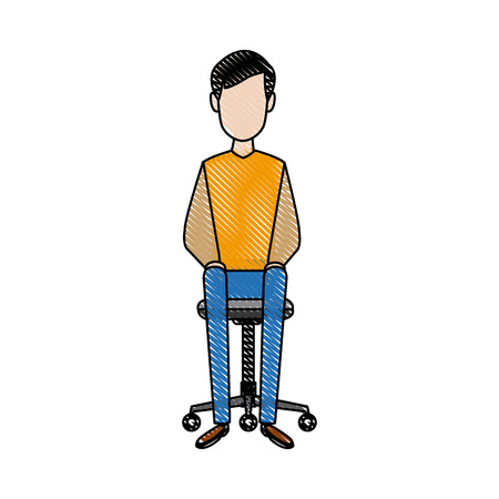 young man relaxed sitting in an office chair vector illustration Illustration