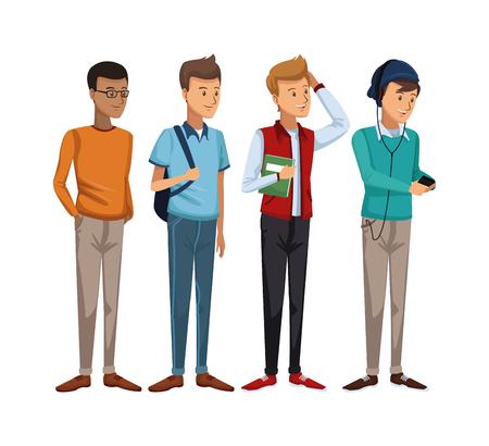 zapatos escolares: colorido conjunto grupo de estudiantes de chico de pie ilustración vectorial