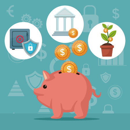 savings account: color background analytics investment with money piggy bank and icons economy vector illustration Illustration