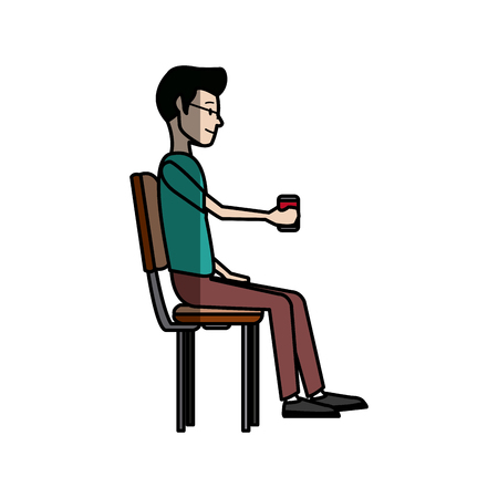people holding coffee cup sitting in the office break vector illustration Illustration