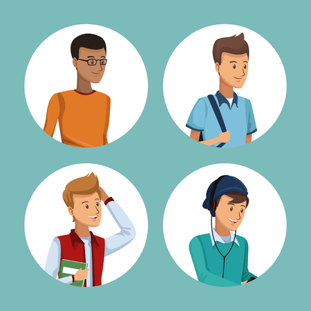 colorful set in circular frame of men students half body vector illustration Illustration