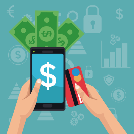 color background analytics investment icons and hand holding a smartphone with bills and debt card vector illustration Illustration