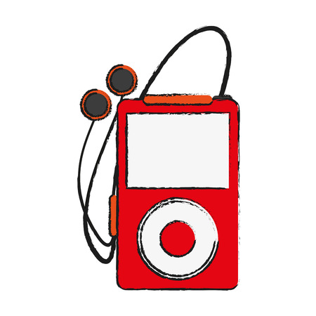 portable audio: portable music player with earphones icon image vector illustration design