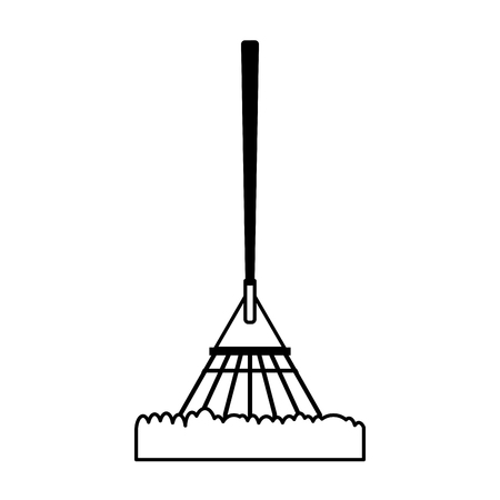 raking: rake gardening tool icon image vector illustration design  black and white
