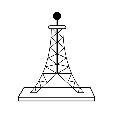 tv tower: antenna telecommunication icon image vector illustration design  black and white Illustration