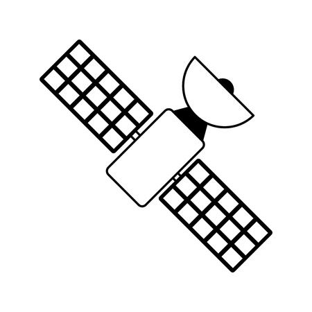 Satelliet transmissie telecommunicatie pictogram afbeelding vector illustratie ontwerp zwart-wit Stockfoto - 81379551