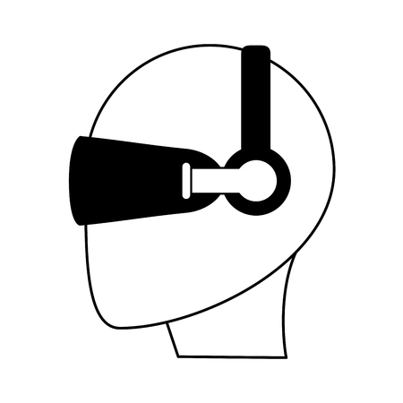 viewing: person wearing glasses virtual reality gadget icon image vector illustration design  black line