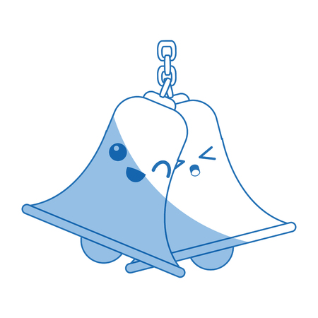 ball and chain: bells hanging on chain instrument sound vector illustration