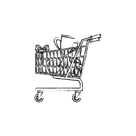shopping cart full of social media items vector illustration Ilustração