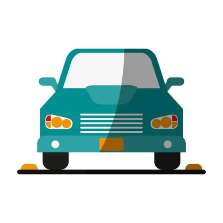 frontview: parked car frontview  icon image vector illustration design