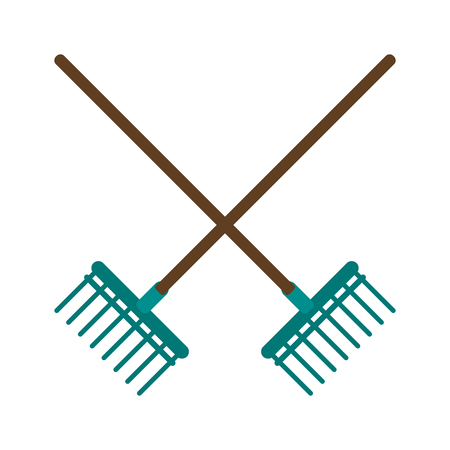 raking: rake gardening tool icon image vector illustration design Illustration