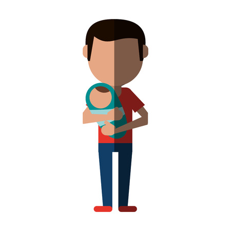 single father with child avatars of family members icon image vector illustration design