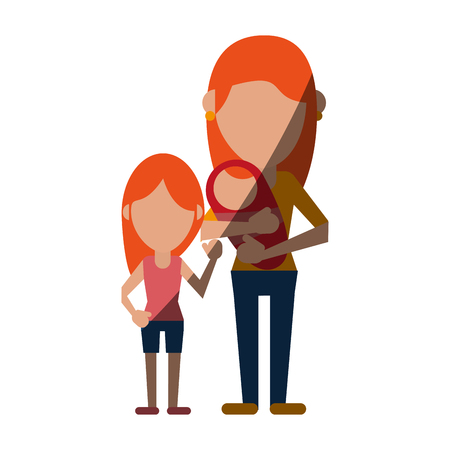 single mom and child avatars of family members icon image vector illustration design