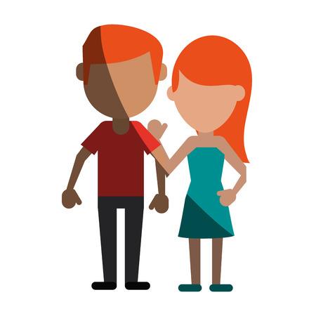 heterosexual: avatars of traditional couple icon image vector illustration design