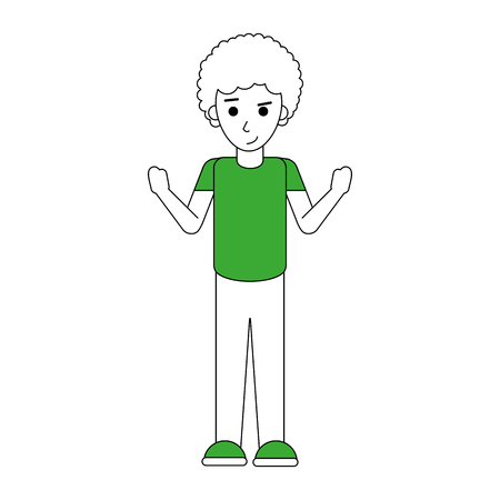 nice body: Flat line standing man with clothing over white background