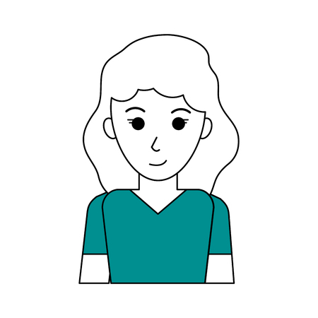 Flat line woman with hairstyle design and t shirt over white background vector illustration