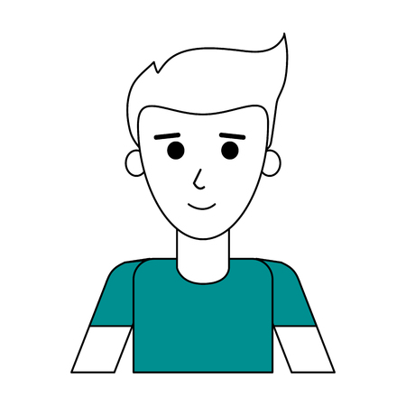 Flat line man with hairstyle and t shirt over white background vector illustration