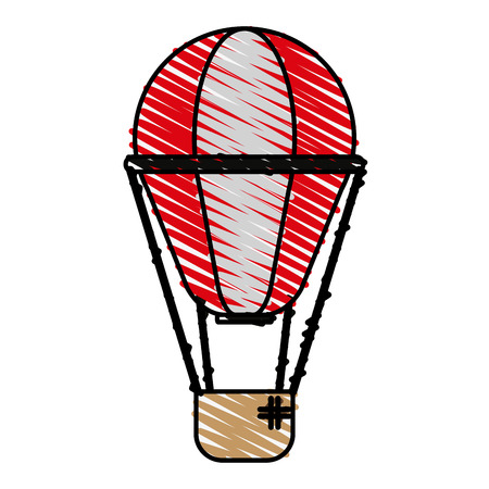 airship: Colorful hot air balloon doodle over white background vector illustration