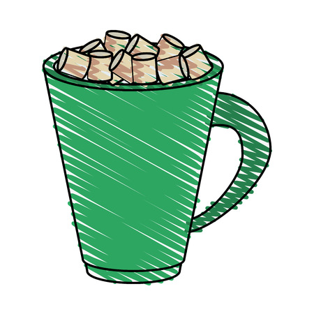 Colorful chocolate and marshmallows mug doodle over white background vector illustration Illustration