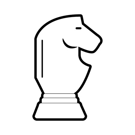 chess rook: Flat line uncolored horse chess piece over white background vector illustration