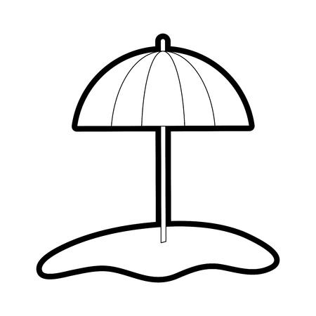 Flat line uncolored beach umbrella over white background vector illustration