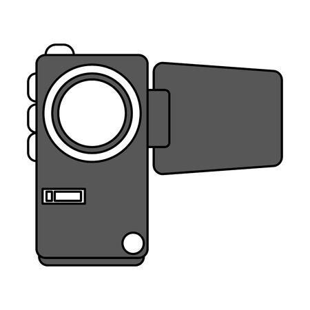 photographing: Flat line video camera with a hint of color over white background Illustration