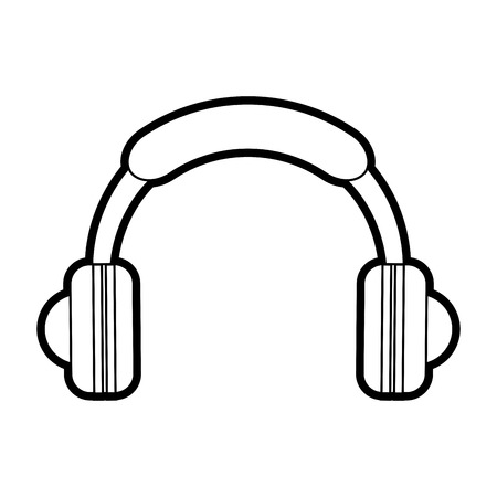 Flat line uncolored headphones over white background vector illustration