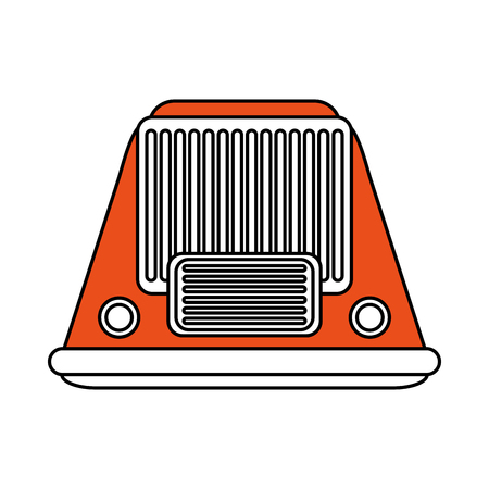 Flat line radio with  a hint of color over white background vector illustration Illustration