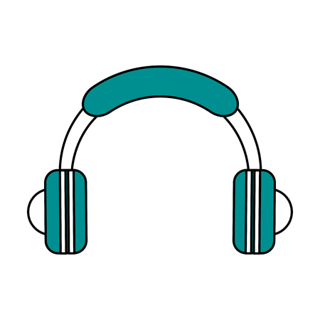 earphone: Flat line headphones with a hint of color over white background vector illustration Illustration