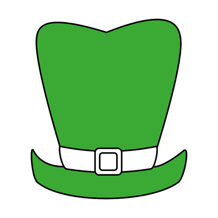 hint: Flat line leprechaun hat with a hint of color over white background vector illustration Illustration
