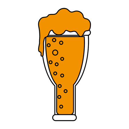 beers: Flat line beer glass with a hint of color over white background vector illustration Illustration