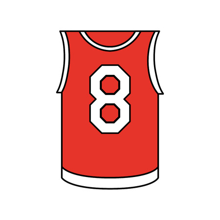 Flat line basketball uniform shirt with a hint of color over white background vector illustration