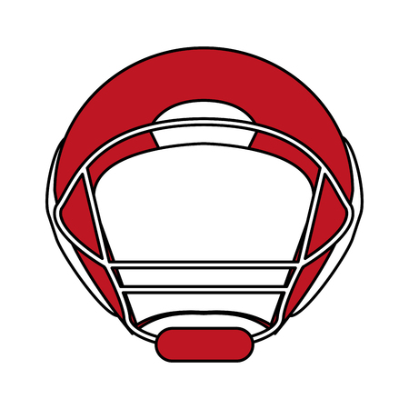 Flat line football helmet with a hint of color over white background vector illustration
