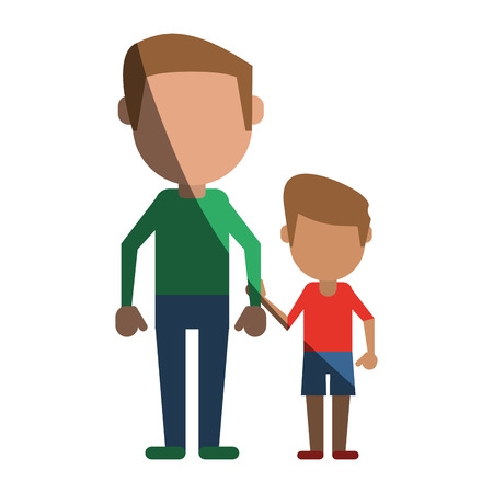 single father with child avatars of family members icon image vector illustration design  Illustration