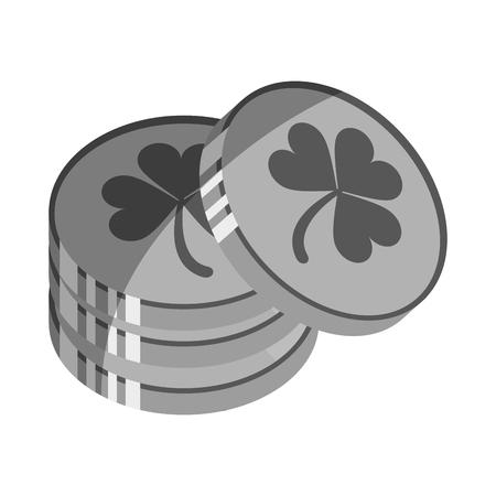 patrick's: shamrock or clover coin st patricks day related icon image vector illustration design Illustration