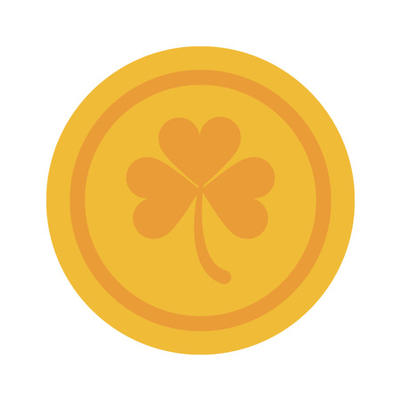 clovers: shamrock or clover coin st patricks day related icon image vector illustration design Illustration