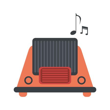 fm: vintage radio playing music icon image vector illustration design Illustration