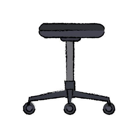 backless chair office furniture wheel vector illustration