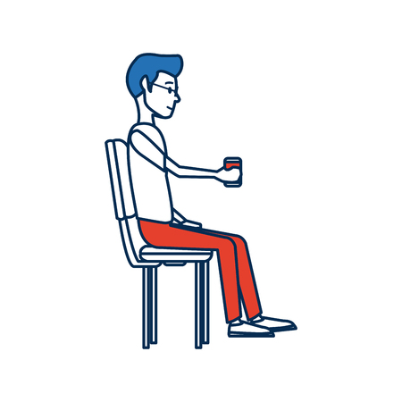 smart man: young man employee sitting with coffee cup time break vector illustration