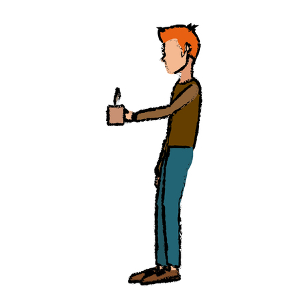 man character standing holding coffee cup break office vector illustration