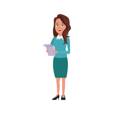 business woman holding paper file office archive vector illustration