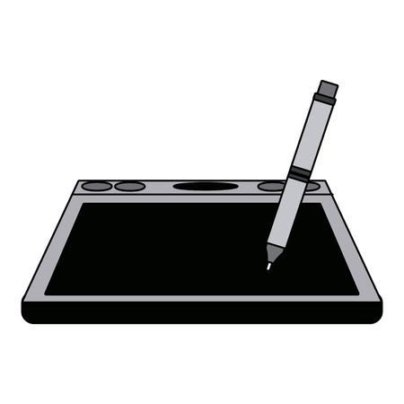 graphic tablet with pen digital tool design vector illustration