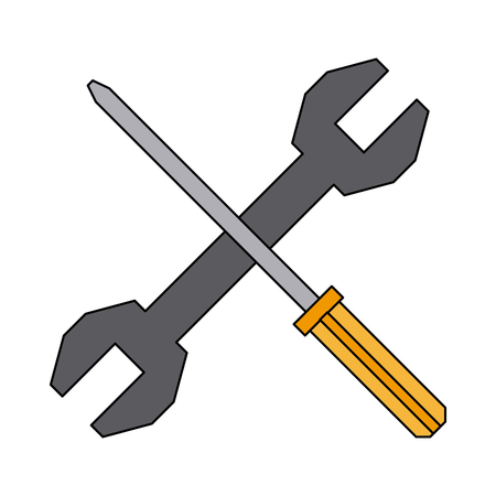 screwdriver and spanner tool support repair vector illustration Illustration