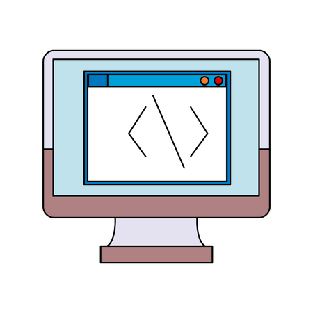 screen monitor computer coding programmer vector illustration Illustration