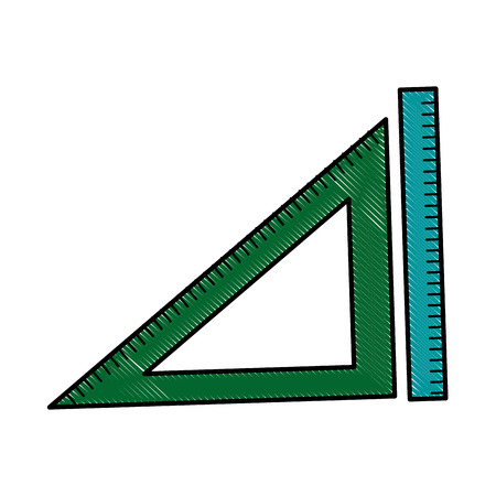 millimeter: ruler and triangle ruler geometry measuring objects vector illustration Illustration