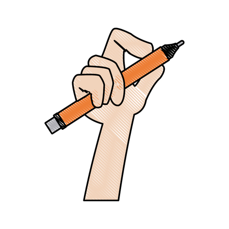 hand designer holding pencil tool writing vector illustration