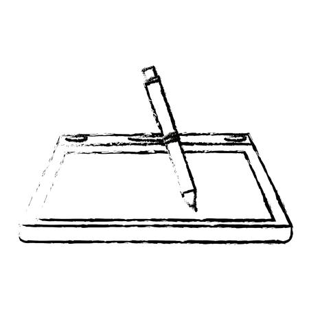 digitized: tablet digital pen graphic design equipment vector illustration Illustration