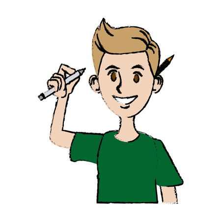 smart man: young man character design programmer with pencil vector illustration